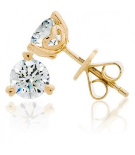 Earrings - 1 Carat Round Brilliant Diamond Solitaire Earrings 18Kt Yellow Gold