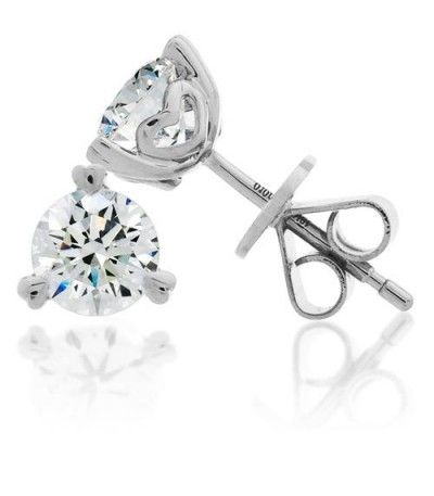 Earrings - 1.50 Carat Round Brilliant Diamond Earrings 18Kt White Gold