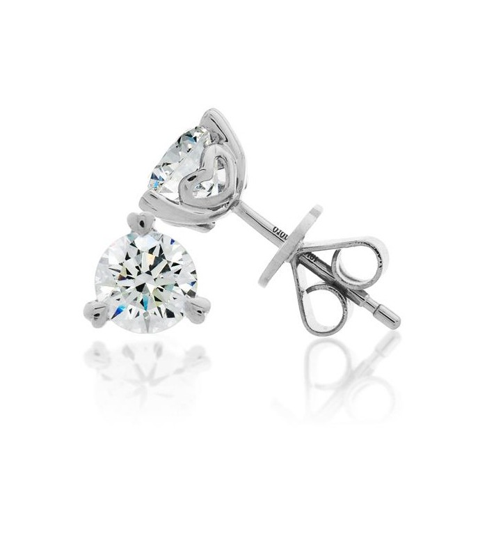Earrings 2 00 Carat Round Brilliant Diamond Solitaire 18kt White Gold