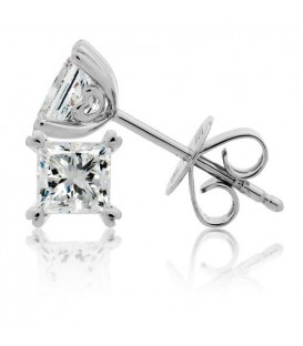 1.50 Carat Princess Cut Eternitymark Diamond Solitaire Earrings 18Kt White Gold