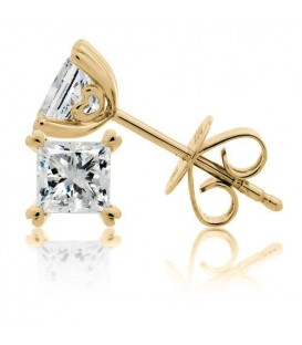 More about 1.50 Carat Princess Cut Eternitymark Diamond Solitaire Earrings 18Kt Yellow Gold