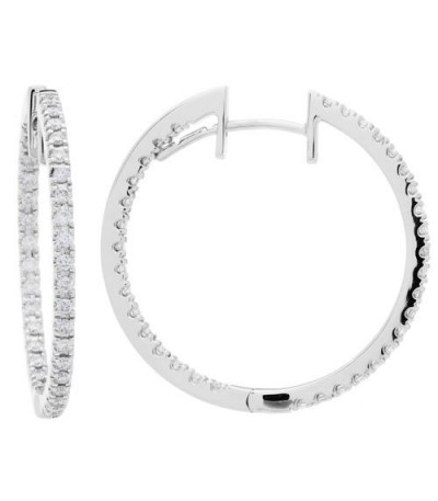 Earrings - 0.98 Carat Round Cut Diamond Hoop Earrings 18Kt White Gold