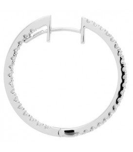 0.98 Carat Round Cut Diamond Hoop Earrings 18Kt White Gold