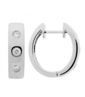 Earrings - 0.28 Carat Round Cut Diamond Hoop Earrings 18Kt White Gold