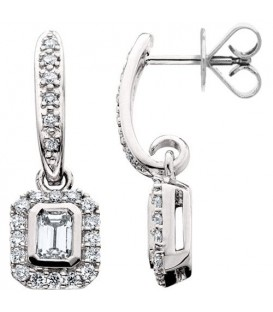Earrings - 0.75 Carat Round and Octagonal Cut Diamond Earrings 18Kt White Gold