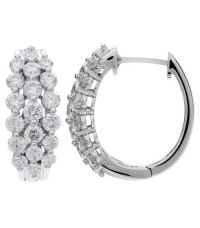 Earrings - 2.50 Carat Round Cut Diamond Hoop Earrings 18Kt White Gold