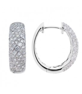 Earrings - 1.25 Carat Round Cut Diamond Hoop Earrings 18Kt White Gold