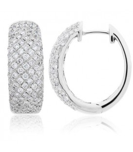 Earrings - 1.50 Carat Round Cut Diamond Hoop Earrings 18Kt White Gold