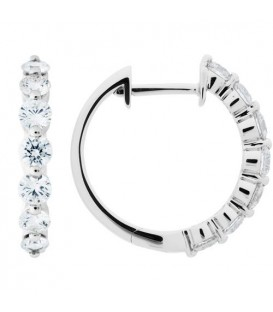 Earrings - 1.00 Carat Round Cut Diamond Hoop Earrings 18Kt White Gold