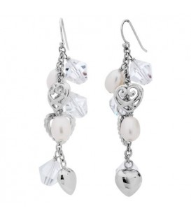 Earrings - Cultured Freshwater Pearl, Crystal Earrings 925 Sterling Silver