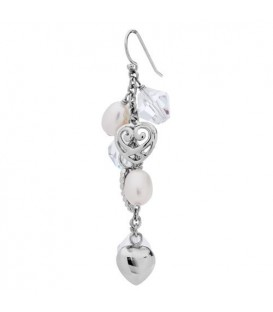 Cultured Freshwater Pearl, Crystal Earrings 925 Sterling Silver