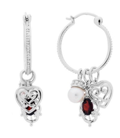 Earrings - Cultured Freshwater Pearl, Garnet Earrings 925 Sterling Silver