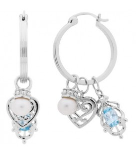 Cultured Freshwater Pearl, Blue Topaz Earrings 925 Sterling Silver