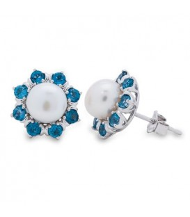 Earrings - White Cultured Freshwater Pearls and London Blue Topaz 925 Sterling Silver