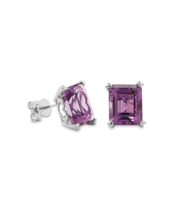 Earrings 7 Carat Emerald Cut Amethyst Sterling Silver