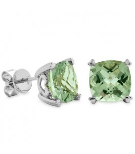 Earrings - 5.30 Carat Cushion Cut Praseolite Earrings Sterling Silver