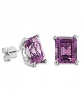 Earrings - 7 Carat Octagonal Step Cut Amethyst Earrings 14Kt White Gold