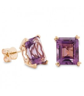 7 Carat Octagonal Step Cut Amethyst Earrings 14Kt Yellow Gold