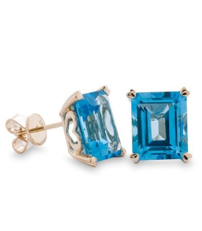 Earrings - 10 Carat Octagonal Step Cut Blue Topaz Earrings 14Kt Yellow Gold