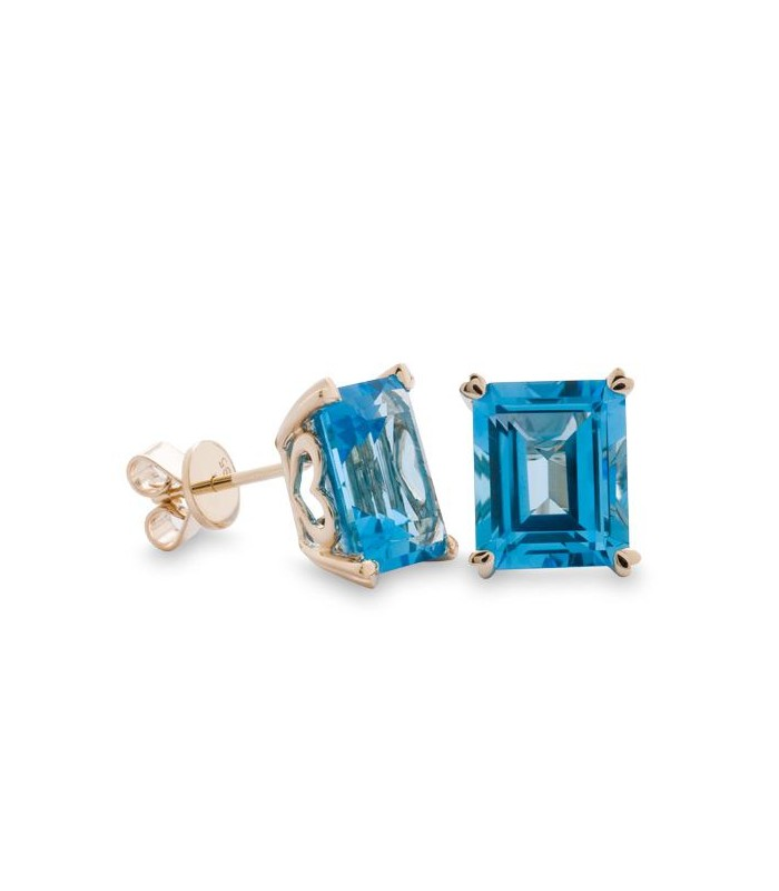 10 Carat Octagonal Step Cut Blue Topaz Earrings 14kt Yellow Gold