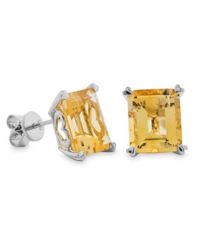 Earrings - 7 Carat Octagonal Step Cut Citrine Earrings 14Kt White Gold