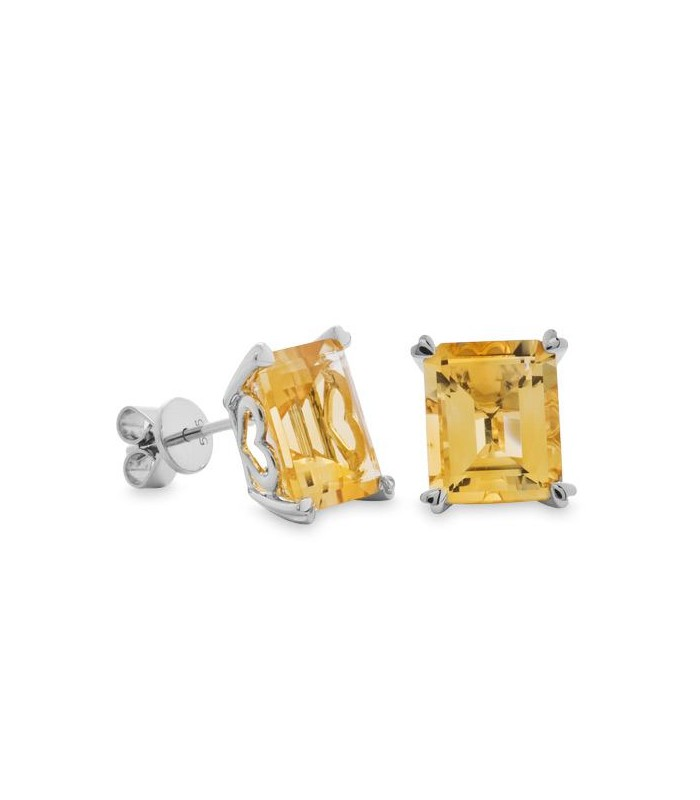 Earrings 7 Carat Octagonal Step Cut Citrine 14kt White Gold