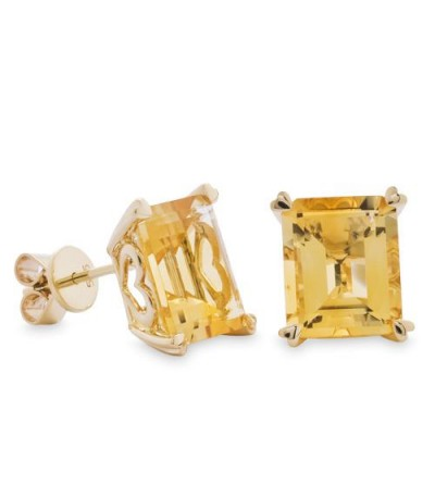 Earrings - 7 Carat Octagonal Step Cut Citrine Earrings 14Kt Yellow Gold