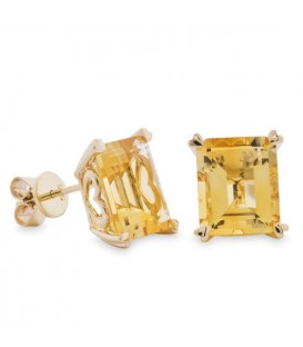 More about 7 Carat Octagonal Step Cut Citrine Earrings 14Kt Yellow Gold