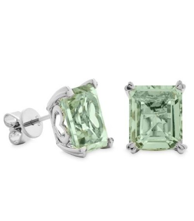 Earrings - 7 Carat Octagonal Step Cut Praseolite Earrings 14Kt White Gold
