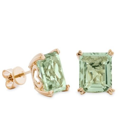 Earrings - 7 Carat Octagonal Step Cut Praseolite Earrings 14Kt Yellow Gold