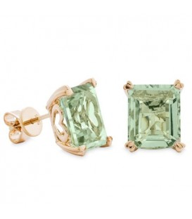 7 Carat Octagonal Step Cut Praseolite Earrings 14Kt Yellow Gold