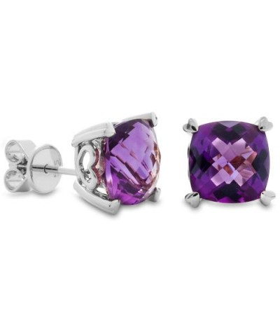 Earrings - 5.30 Carat Cushion Cut Amethyst Earrings 14Kt White Gold