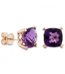 Earrings - 5.30 Carat Cushion Cut Amethyst Earrings 14Kt Yellow Gold