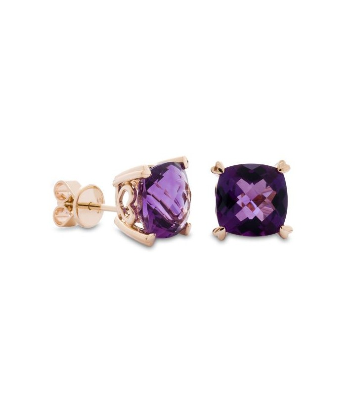 Earrings 5 30 Carat Cushion Cut Amethyst 14kt Yellow Gold