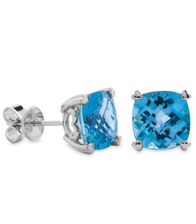 Earrings - 6.50 Carat Cushion Cut Blue Topaz Earrings 14Kt White Gold