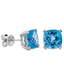 6.50 Carat Cushion Cut Blue Topaz Earrings 14Kt White Gold