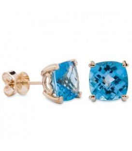 6.50 Carat Cushion Cut Blue Topaz Earrings 14Kt Yellow Gold