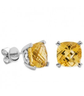 Earrings - 5.30 Carat Cushion Cut Citrine Earrings 14Kt White Gold