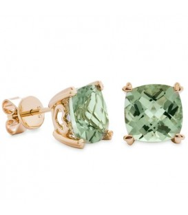 Earrings - 5.30 Carat Cushion Cut Praseolite Earrings 14Kt Yellow Gold