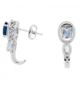 2.46 Carat Oval and Round Cut Blue Topaz and Diamond Earrings 14Kt White Gold