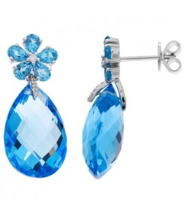 Earrings - 24.83 Carat Pear and Round Cut Blue Topaz and Diamond Earrings 14Kt White Gold