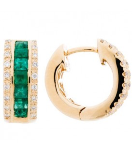 Earrings - 1.12 Carat Square and Round Cut Emerald and Diamond Earrings 14Kt Yellow Gold
