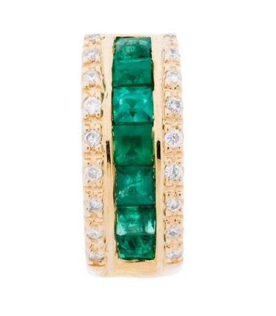 Earrings - 1.27 Carat Square and Round Cut Emerald and Diamond Earrings 14Kt Yellow Gold
