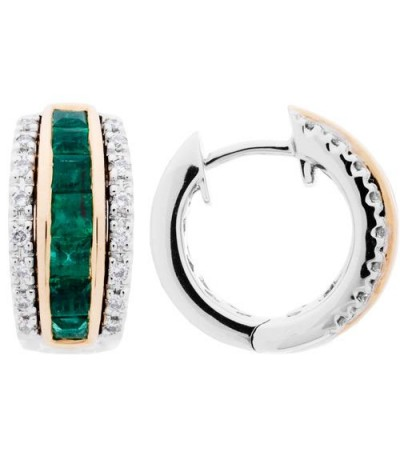 Earrings - 1.38 Carat Square and Round Cut Emerald and Diamond Earrings 14Kt Two-Tone Gold