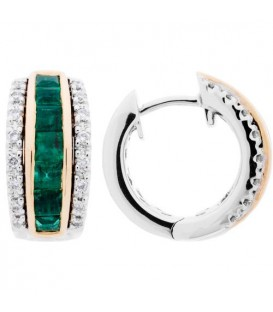More about 1.38 Carat Square and Round Cut Emerald and Diamond Earrings 14Kt Two-Tone Gold