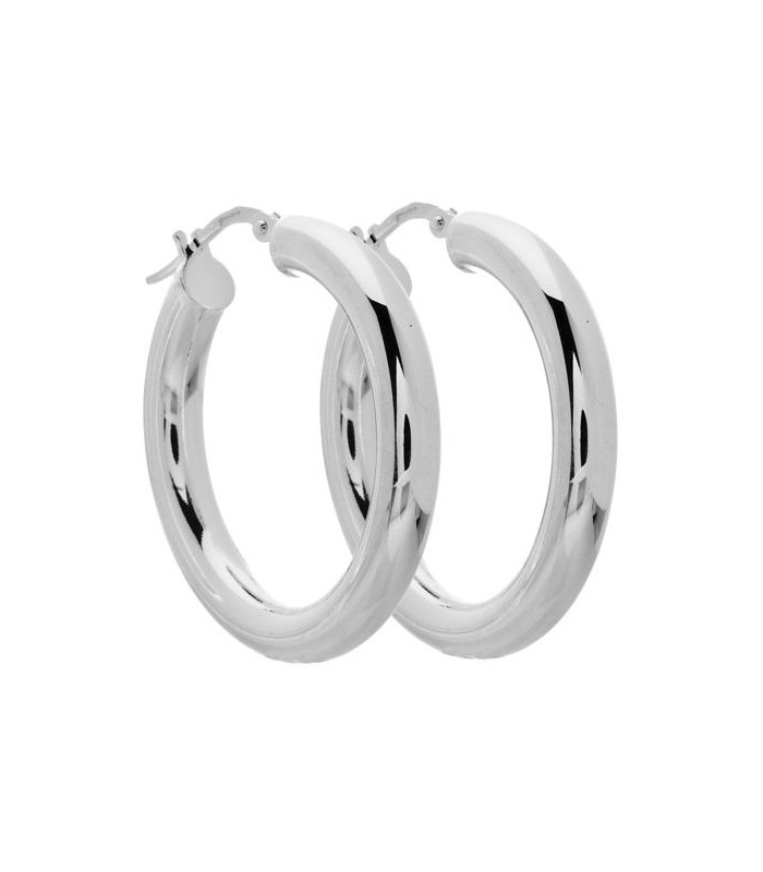 Earrings Medium Hoop Italian Sterling Silver