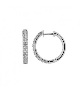 Earrings - 0.17 Carat Round Cut Small Hoop Diamond Earrings 925 Sterling Silver