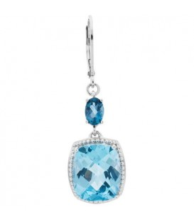 Earrings - 6.50 Carat Blue Topaz Earrings 925 Sterling Silver