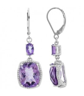 More about 10.00 Carat Cushion and Oval Cut Amethyst Earrings 925 Sterling Silver