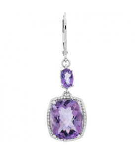 Earrings - 10.00 Carat Cushion and Oval Cut Amethyst Earrings 925 Sterling Silver